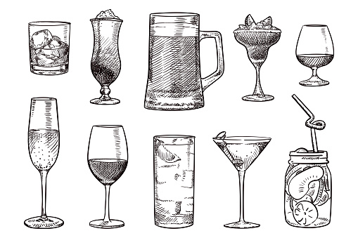 Simple sketches of various drinks