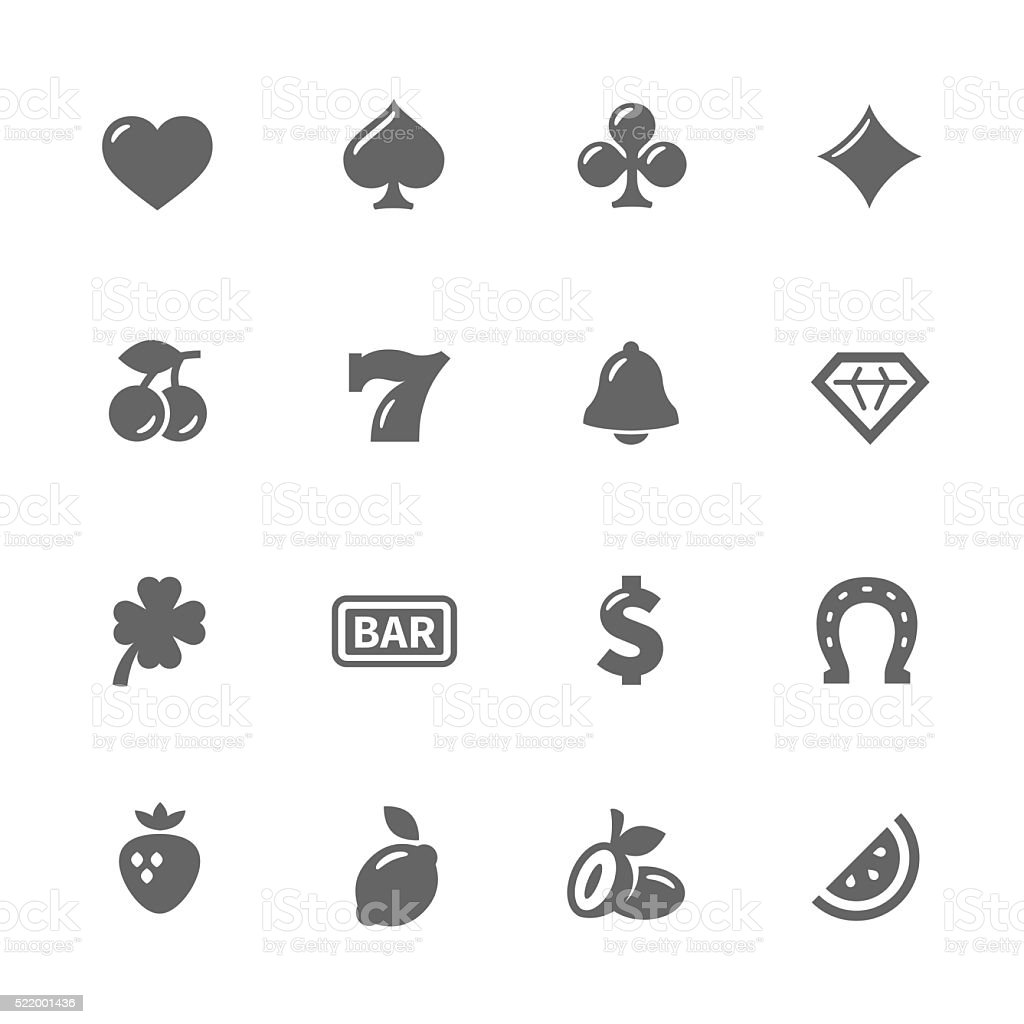 Simple Slot Machine Icons vector art illustration