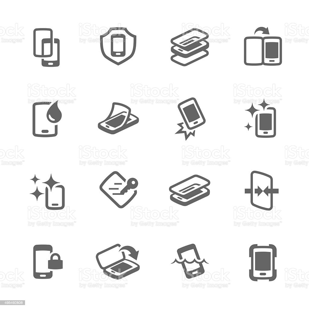 Simple Smart Cover Icons vector art illustration