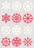 Simple snowflake icons on a silver background. Use one only or all of them!