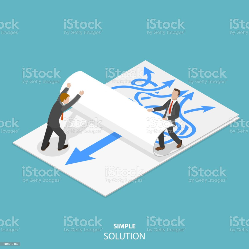 Simple solution flat isometric vector concept. Simple solution flat isometric vector concept. Two man are taking away a paper sheet with many curved arrows to different directions on it to clear a new sheet that contains just one solid straight arrow. Adult stock vector