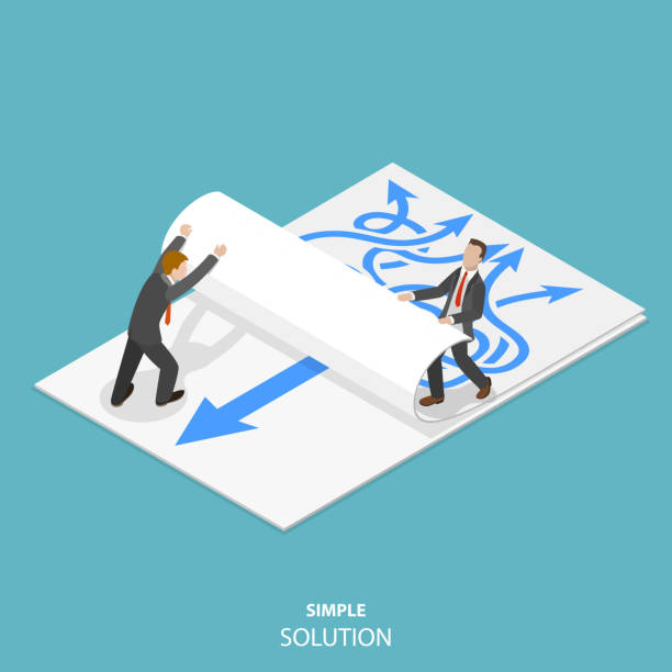 illustrazioni stock, clip art, cartoni animati e icone di tendenza di simple solution flat isometric vector concept. - facilità