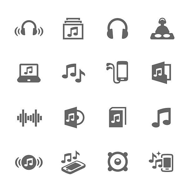 illustrations, cliparts, dessins animés et icônes de icônes de sonorisation simple - icônes musique