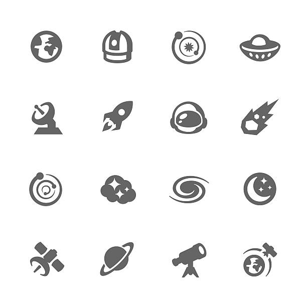 einfache platz symbole - sternwarte stock-grafiken, -clipart, -cartoons und -symbole