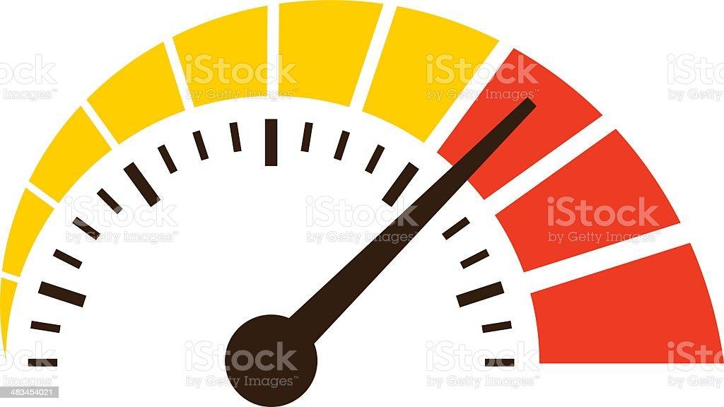 simple speedometer icon vector art illustration