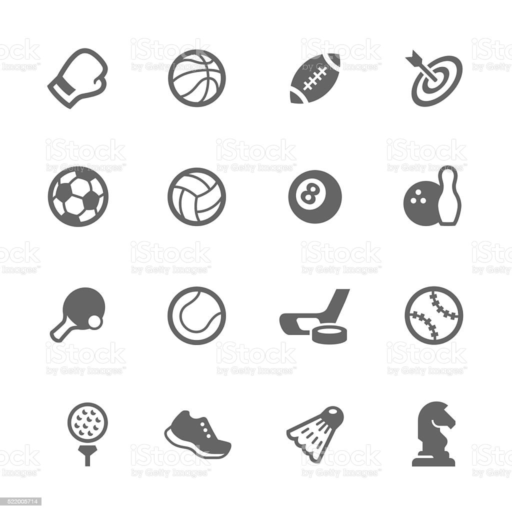 Simple Sport Equipment Icons vector art illustration