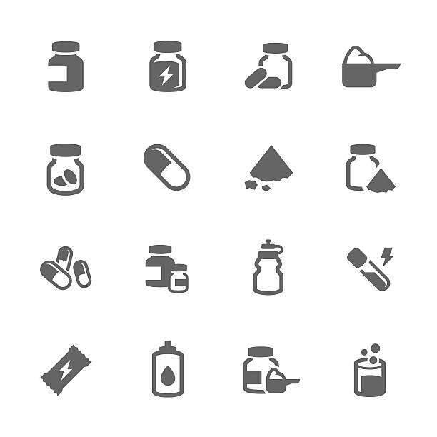 illustrazioni stock, clip art, cartoni animati e icone di tendenza di semplici icone sport integratori - vitamina