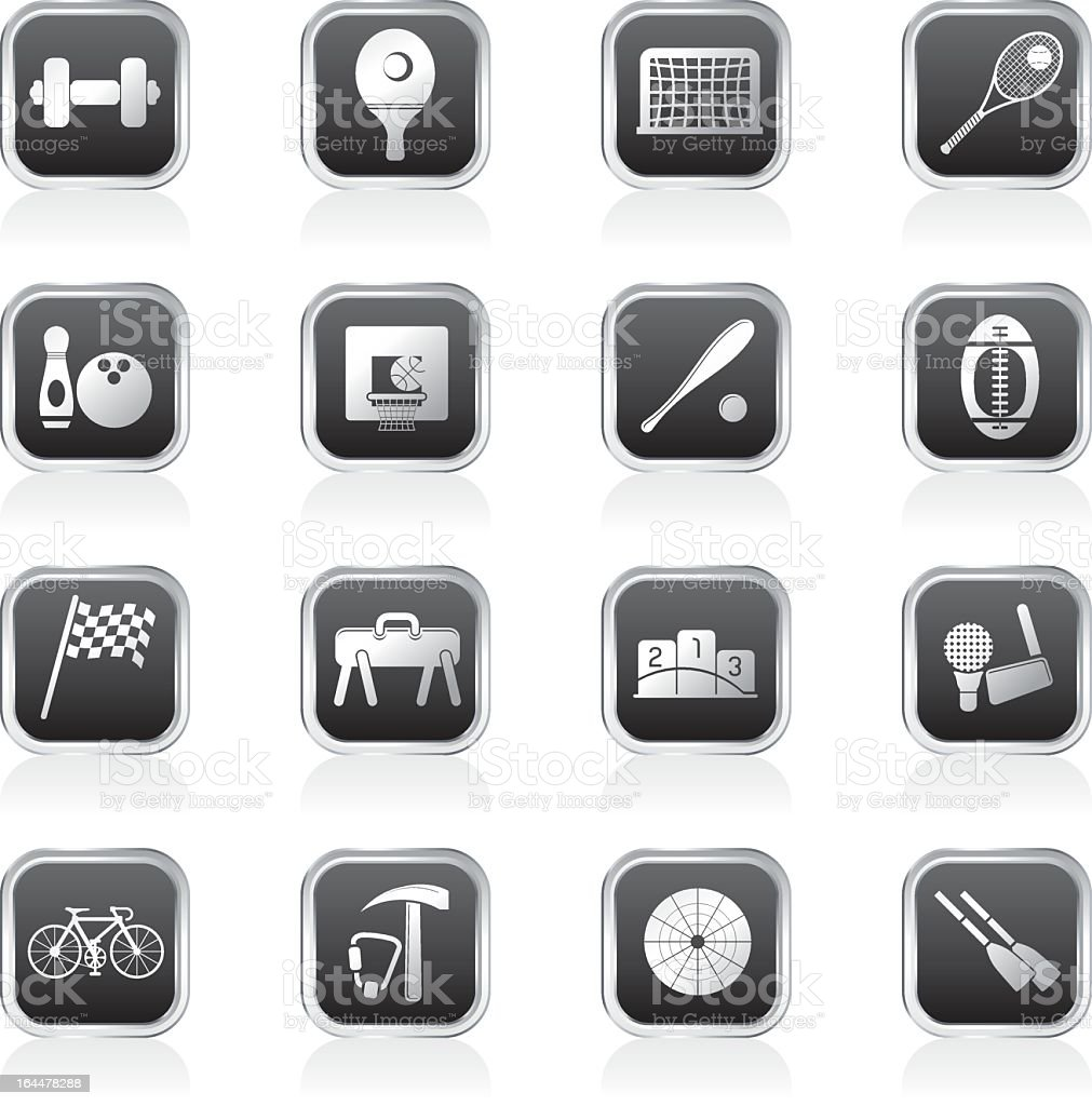 Simple Sports gear and tools icons royalty-free stock vector art