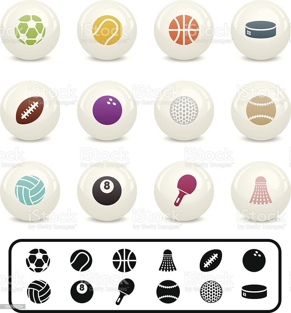 Simple Sports Icons (Orbs) royalty-free stock vector art