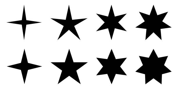 illustrazioni stock, clip art, cartoni animati e icone di tendenza di simple star. 4, 5, 6 and 7 pointed version with two different angles. - stelle