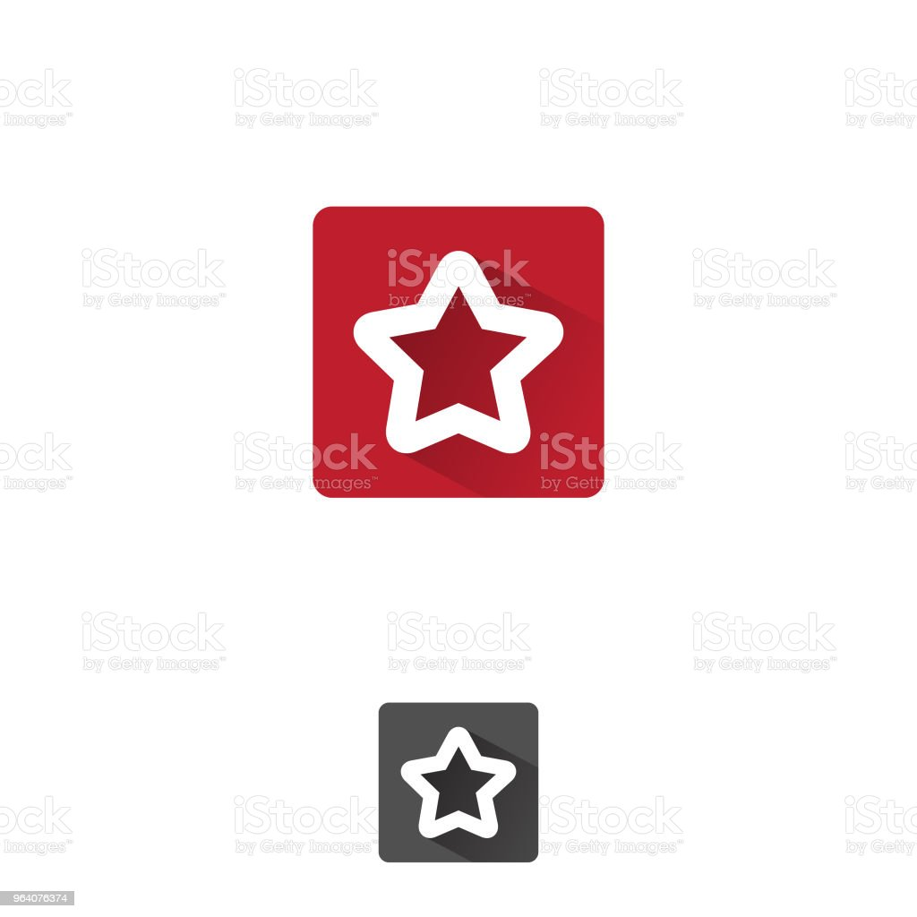 Simple star APP icon with color red, shaped line - Royalty-free Award stock vector