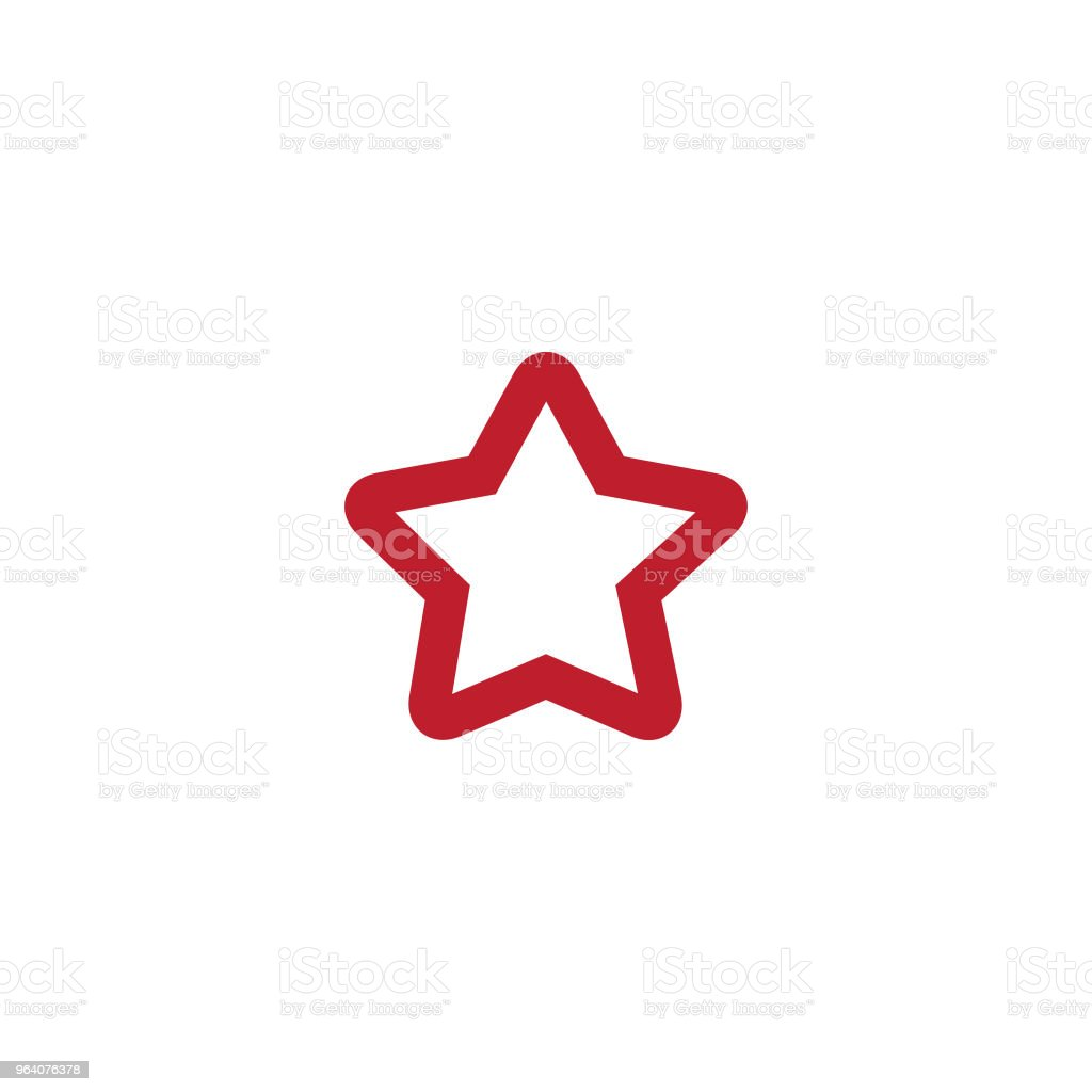 Simple star icon with color red, shaped line - Royalty-free Award stock vector