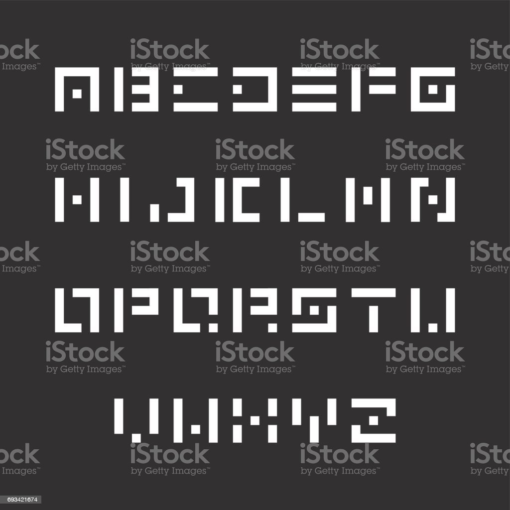 Simple Stencil Font Vector English Alphabet Origami Letters Stock