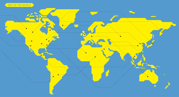 simple straight line business map of the world, vector background simple straight line business map of the world, vector background airport patterns stock illustrations