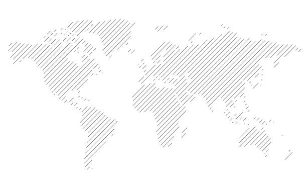 simple straight line business map of the world, vector background simple oblique line business map of the world, vector background airport patterns stock illustrations