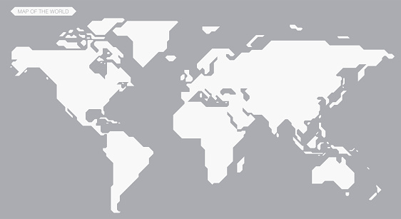simple straight line map of the world, vector background