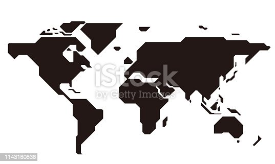 istock simple straight line map of the world, vector background 1143180836