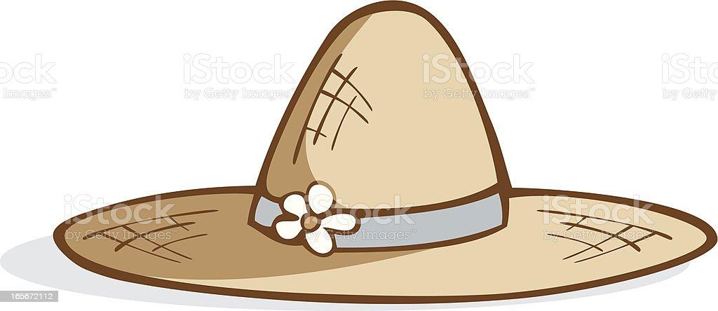 Simple Straw Garden Hat vector art illustration
