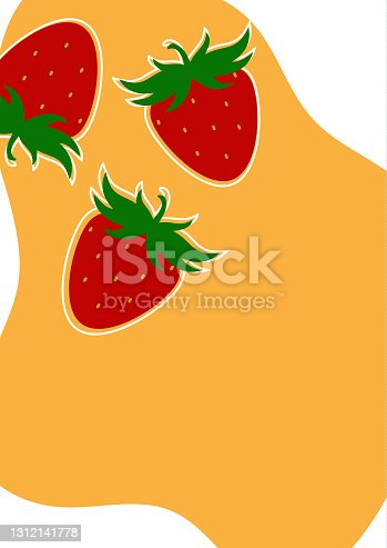 istock Simple strawberry background on white and yellow background. Natural product. Vector 1312141778