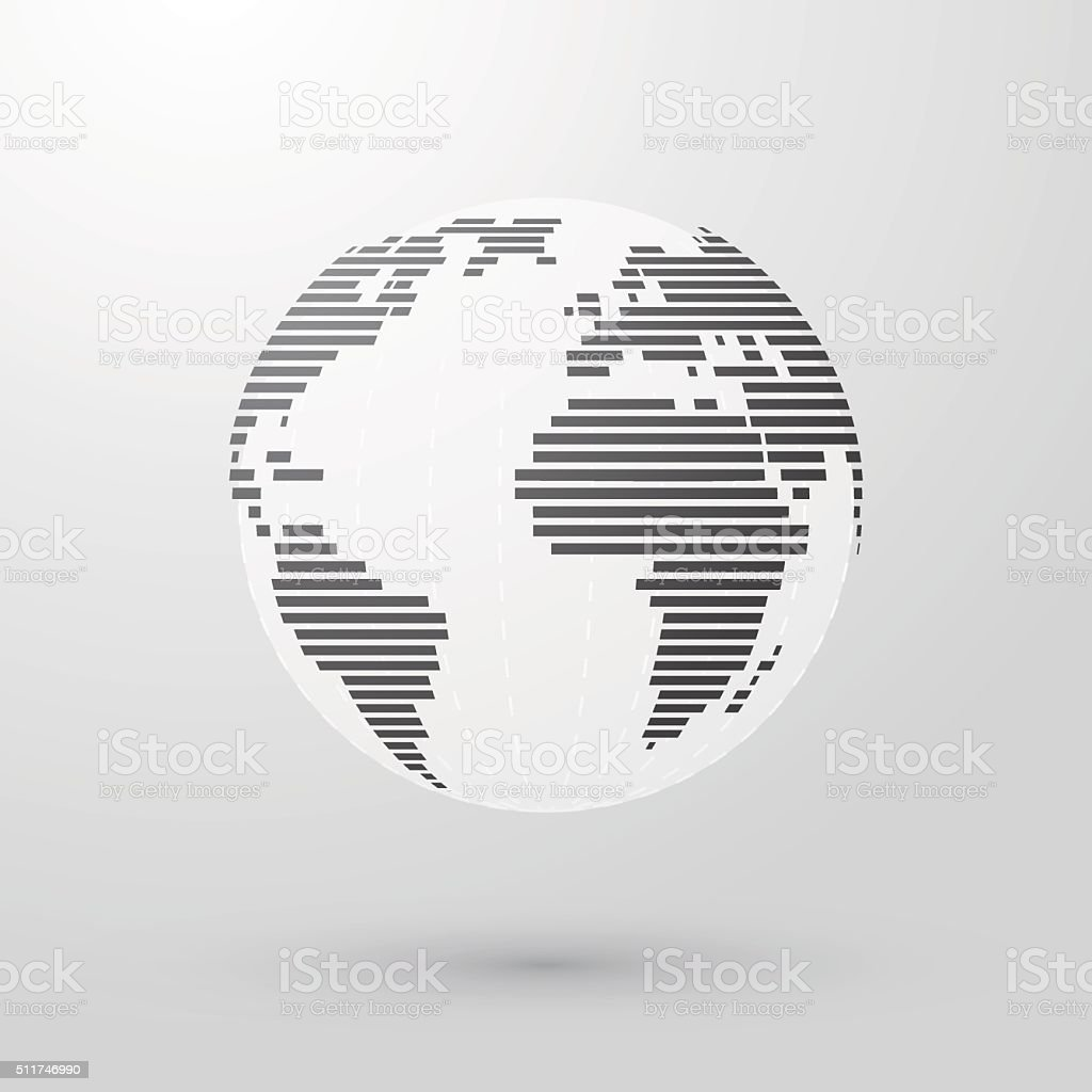 Simple striped earth vector art illustration