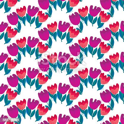 simple stylish tulip flower seamless, pattern on white background. vector illustration.