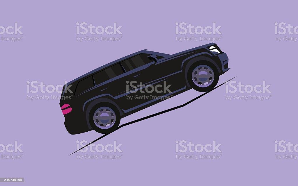 簡単なお車でスタイリッシュな乗り物山 アイコンのベクターアート素材