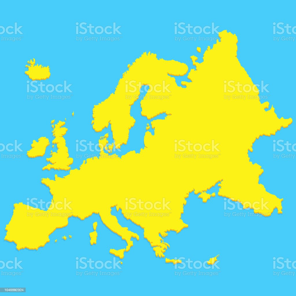 Simple Stylized Europe Map Silhouette In Modern Minimal Style Stock