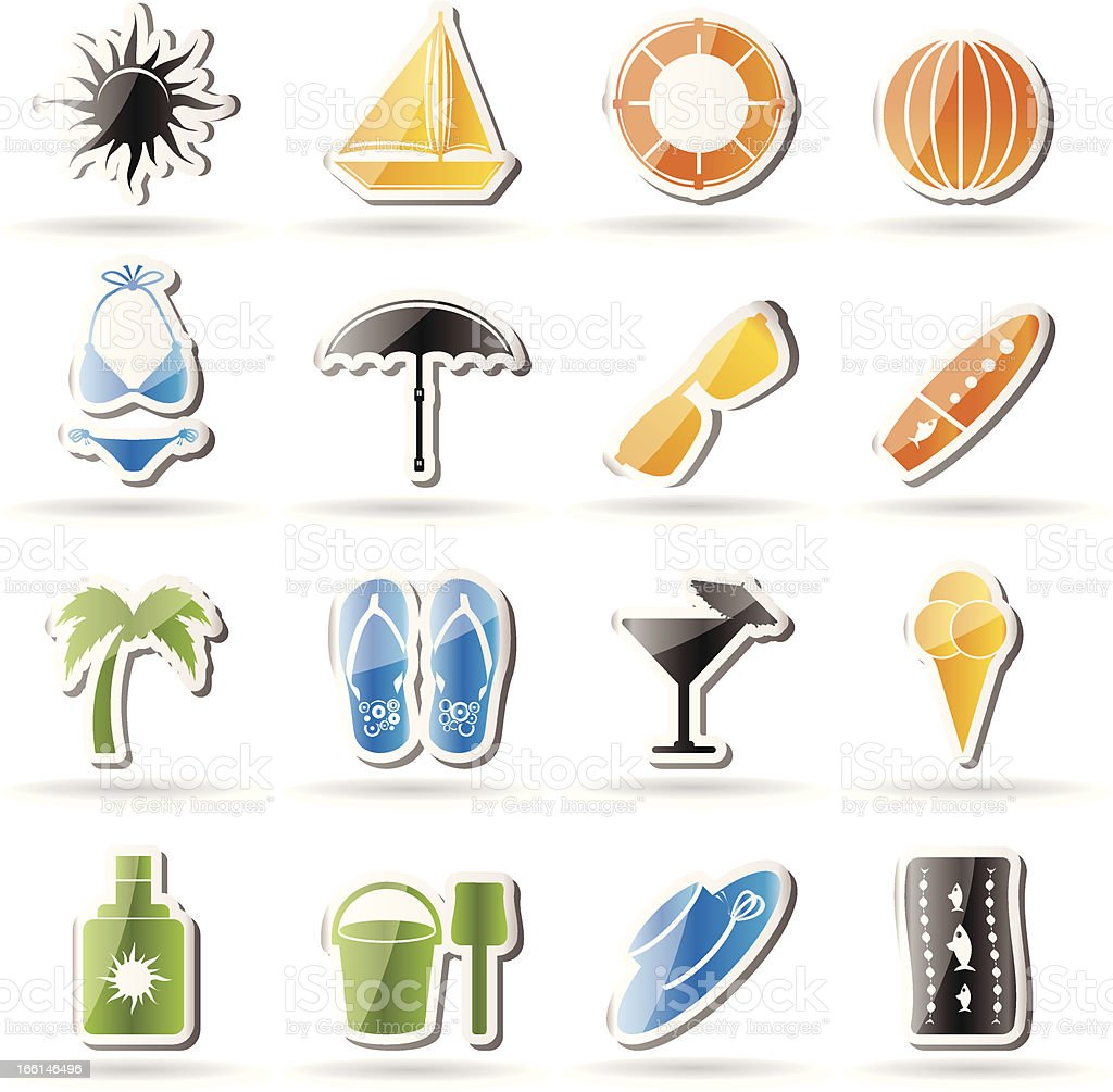 Simple Summer and Holiday Icons royalty-free stock vector art