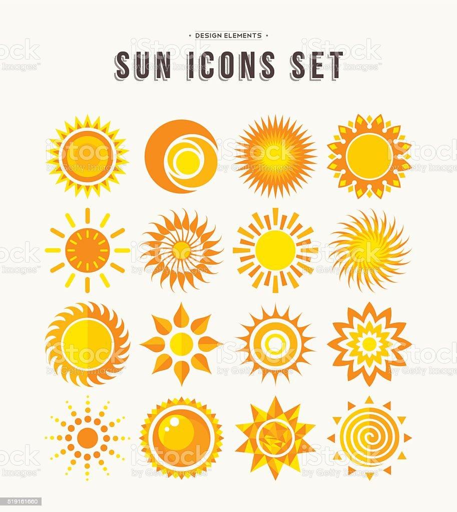 Simple sun icon set summer concept illustrations vector art illustration