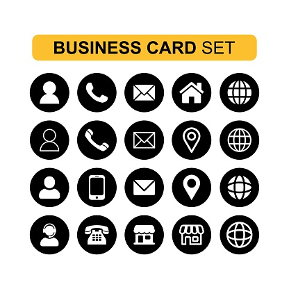 Simple thin Icons sets for business card and web Vector