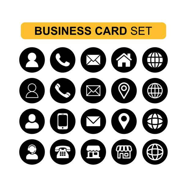 Simple thin Icons sets for business card and web Vector Creative business card and technology icon collection phone stock illustrations