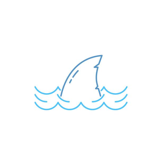 단순한 얇은 선 상어 파 아이콘에 - 오리발 stock illustrations
