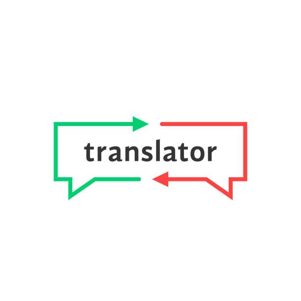 ilustrações, clipart, desenhos animados e ícones de tradutor simples linha fina - aula de idioma