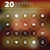 Simple thin shopping icons