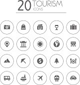Simple thin tourism icons collection on white background