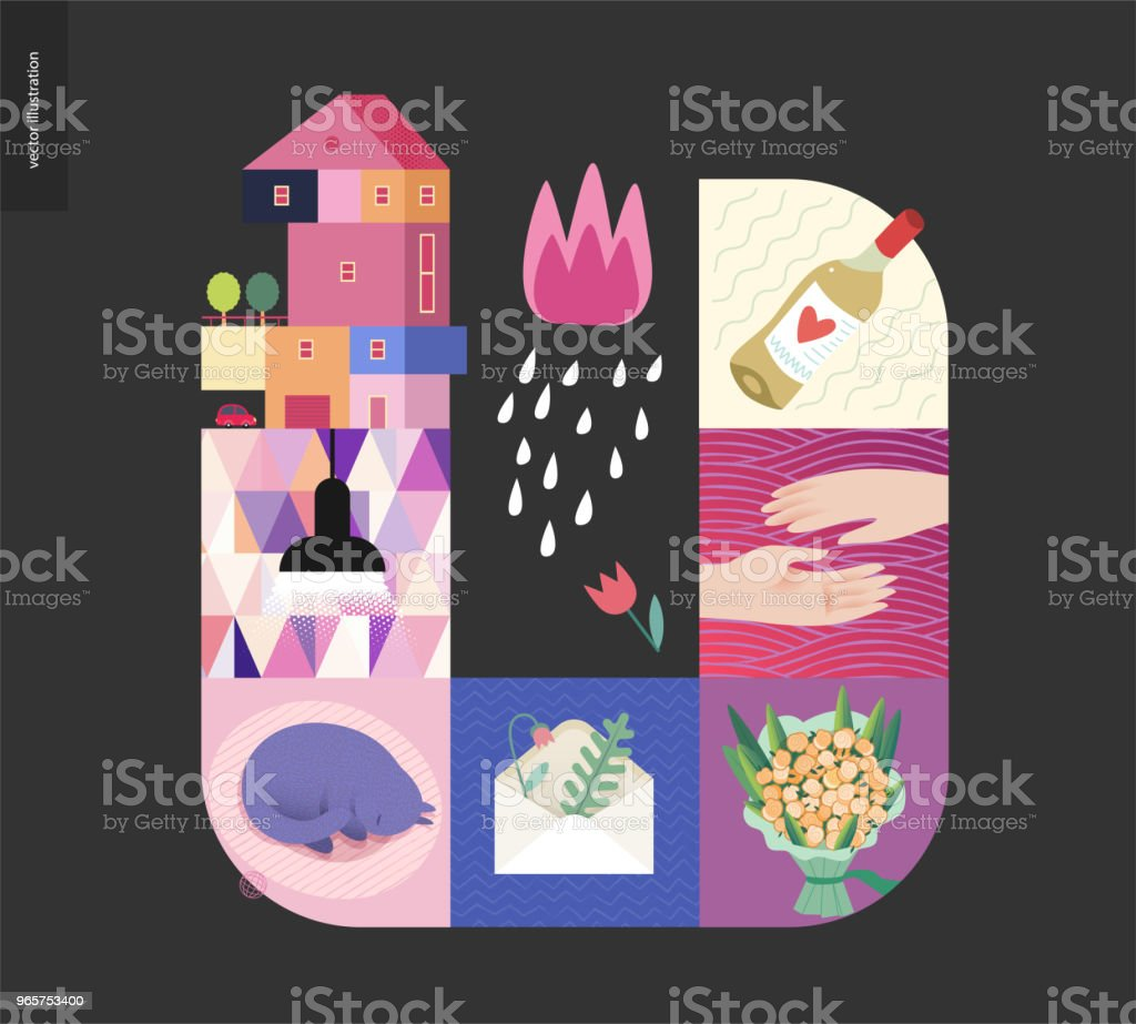 Simple things - home composition on black background Simple things - home - flat cartoon vector illustration of countryside house, black lamp, sleeping cat, envelope with herbarium, bouquet, two hands, white wine, tulip and rain - house black postcard Abstract stock vector