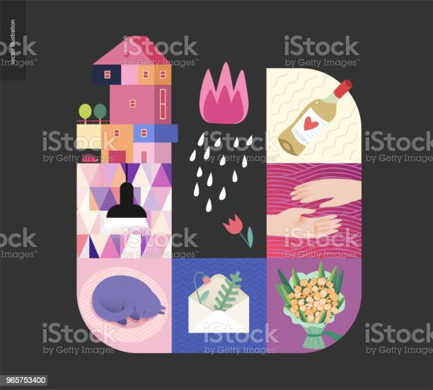 Simple Things Home Composition On Black Background Stock Illustration - Download Image Now