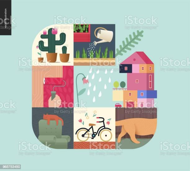 Простые Вещи Домашняя Композиция На Фоне Мяты — стоковая векторная графика и другие изображения на тему Абстрактный