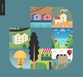 Simple things - houses - flat cartoon vector illustration of landscape, countryside house, seaside, building in town, farm, stripped houses, camp, raincoat, umbrella and rain - houses composition