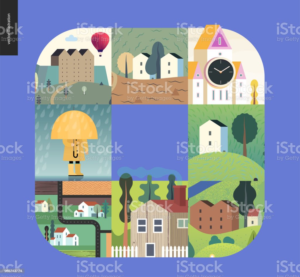 Simple things - houses composition - Royalty-free Architecture stock vector