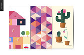 Simple things - postcards - flat cartoon vector illustration of set of colorful countryside house with a terrace and trees, abstract pattern, cactus with flowers on it - cards set