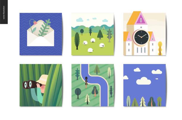 ilustraciones, imágenes clip art, dibujos animados e iconos de stock de cosas sencillas - postales - mountain top