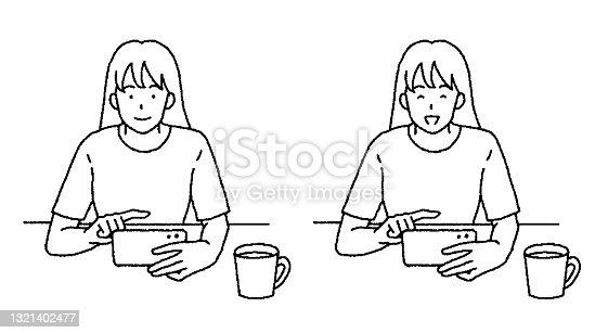 Ilustração simples de toque de uma mulher assistindo um filme em seu telefone