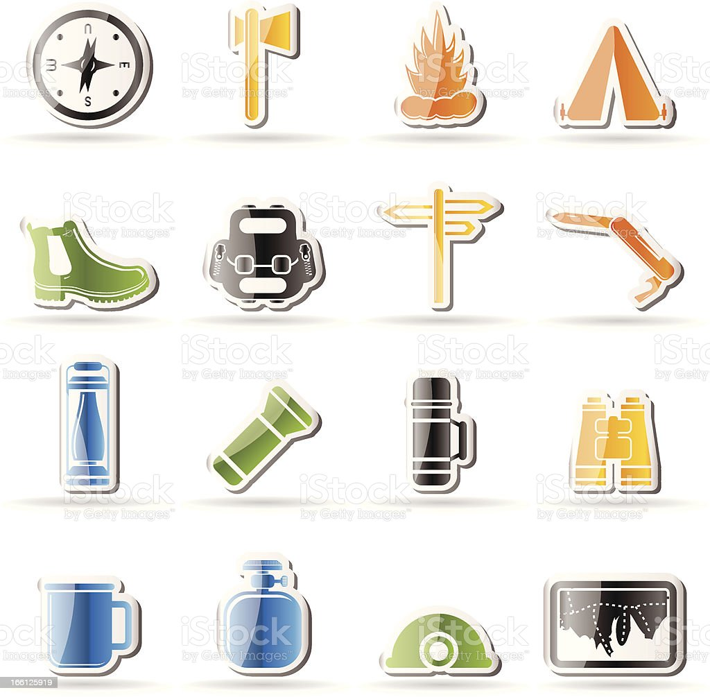 Simple Tourism and Holiday icons royalty-free stock vector art