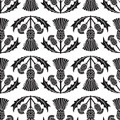 Simple Traditional Style Scottish Thistle Flower Seamless Pattern