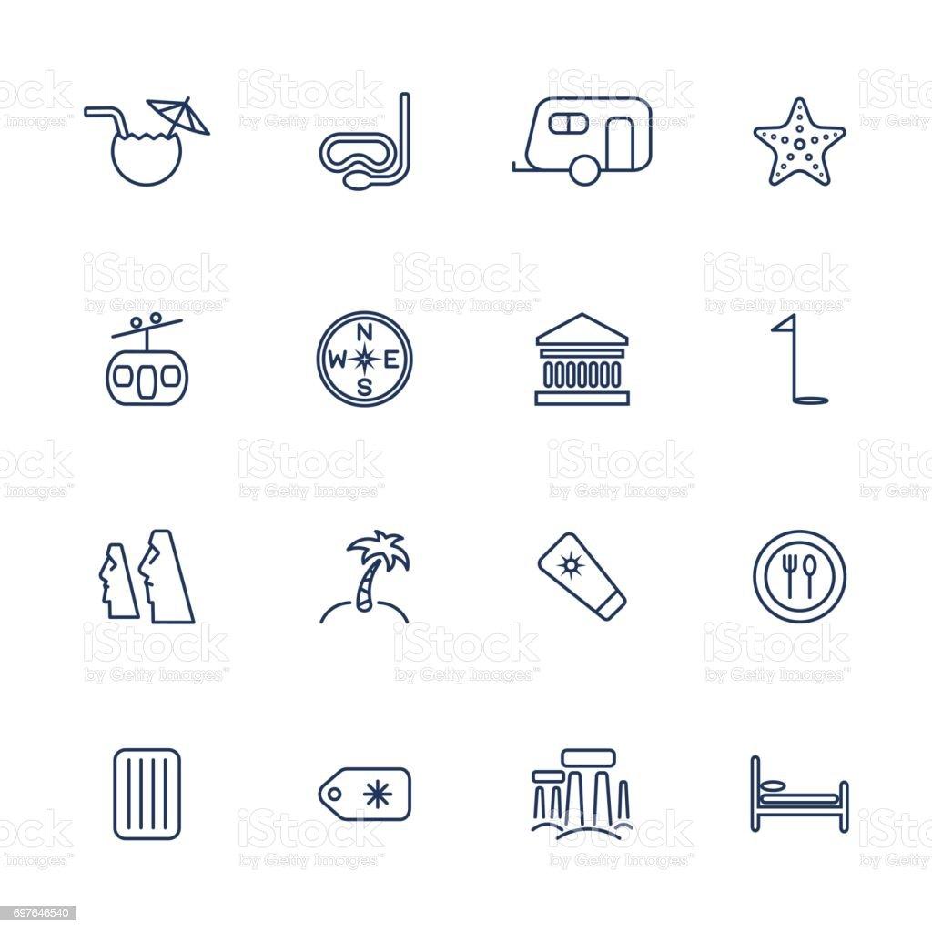 Simple travel icons set vector art illustration