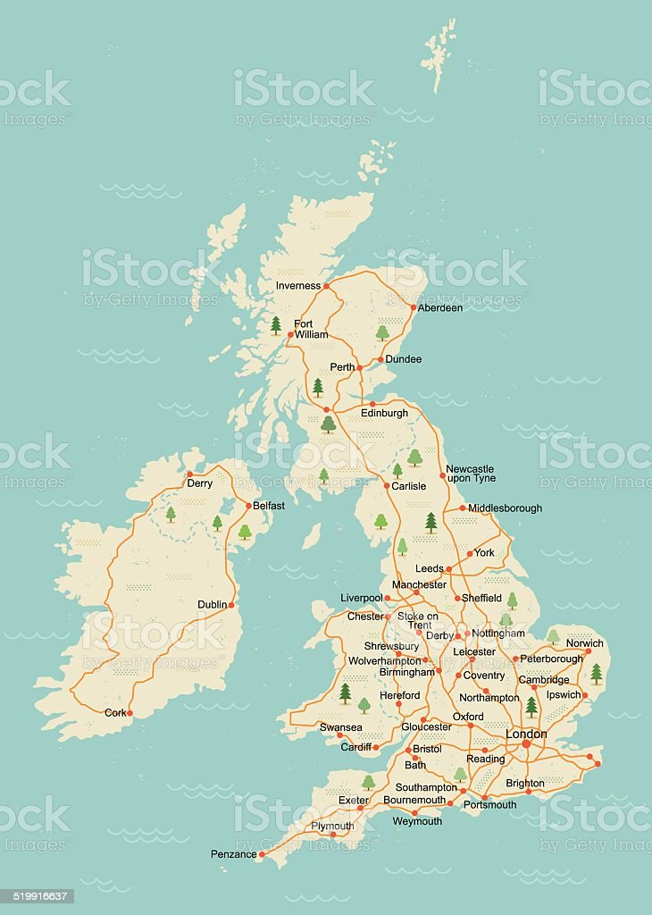 Simple UK map vector art illustration