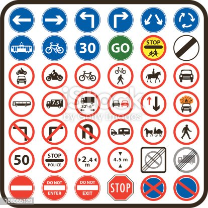 Collection of simple UK road signs (Mandatory type road signs)