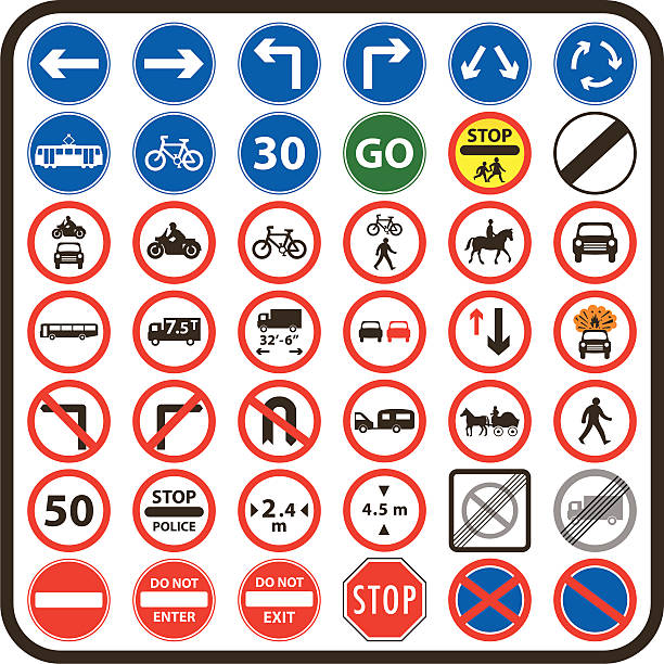 Simple UK Road Signs: Mandatory Series vector art illustration