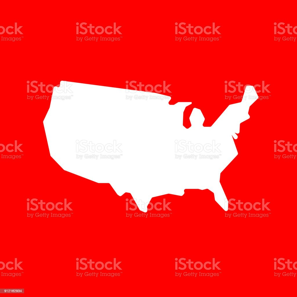 Simple US Country Map. vector art illustration